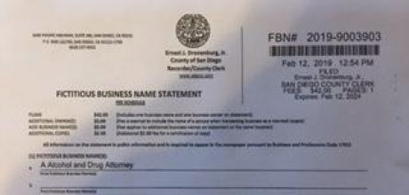 San Diego County Fictitious Business License 20019-9003903